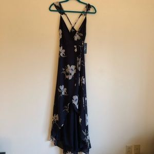 NWT Lulus All Mine Navy Floral High-Low Wrap Dress